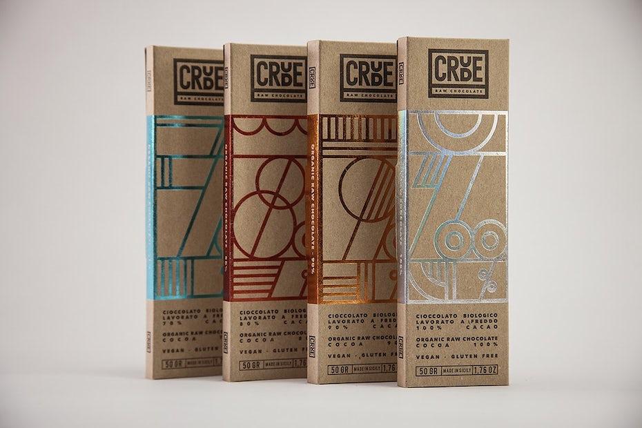 Natural Crude Raw Chocolate packaging design via Behance