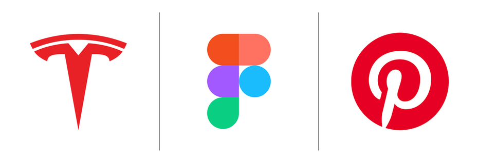 Tesla, Figma, Pinterest logos