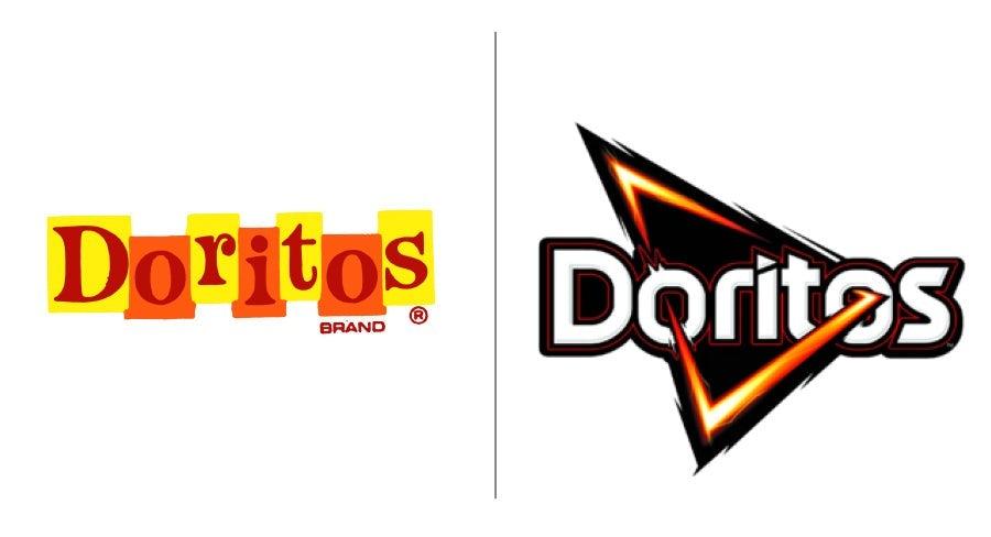 Doritos logo then and now
