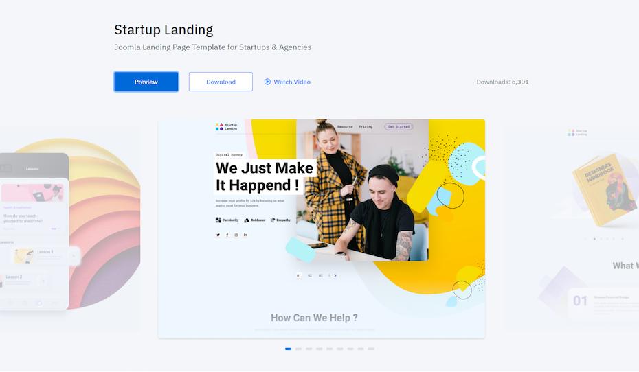 screenshot of Startup Landing