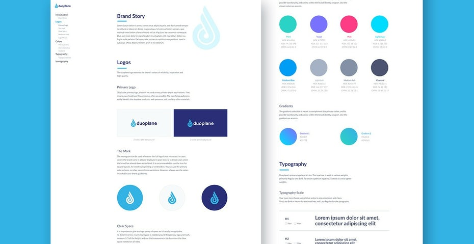 Example brand guide design