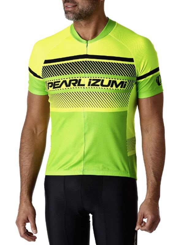 cbd32f38f The neon colors and pointed stripes of this Pearl Izumi jersey make it feel  modern and tech-forward