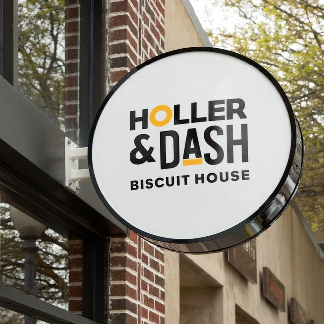 Holler & Dash logo and sign