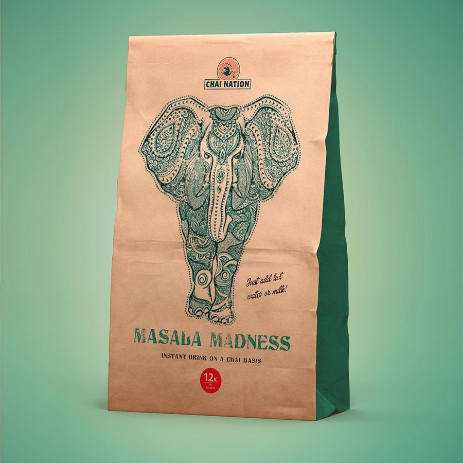 elephant chai tea bag design