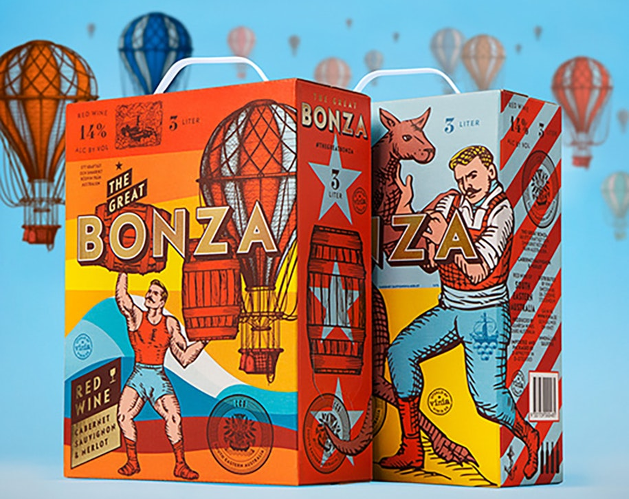 Bonza wine product packaging