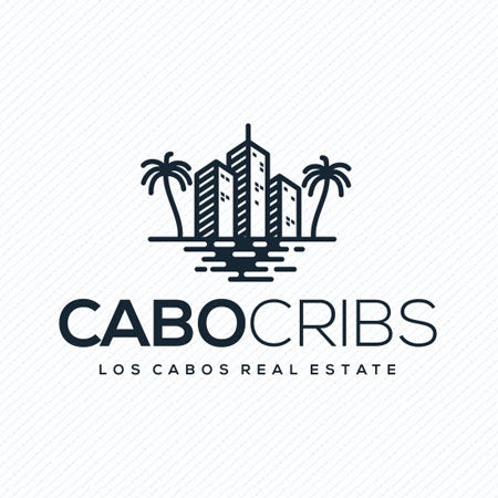 Cabo Cribs skyscraper logo design with palm trees