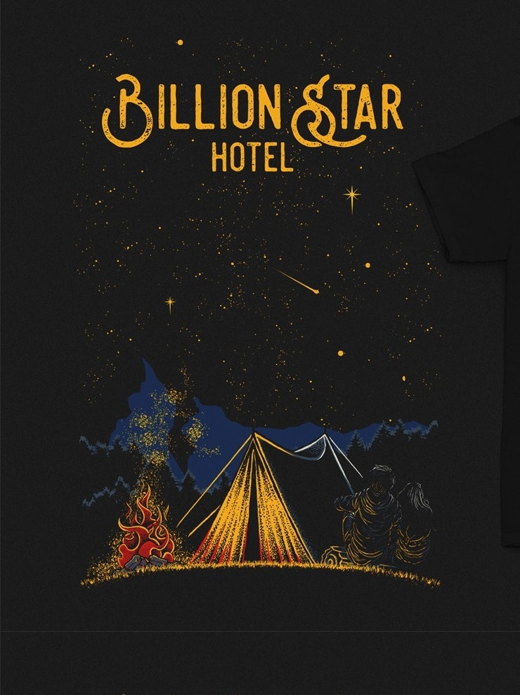 Outdoor camp illustrated t-shirt for a hotel