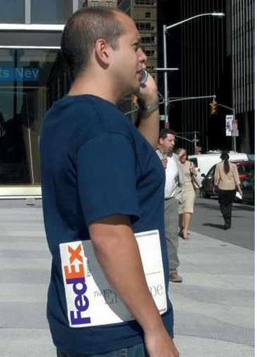 A t-shirt showing a Fed-Ex package