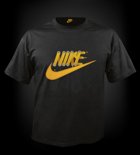 A Nike t-shirt showing the logo made out of shoe laces
