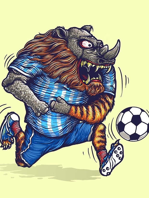 Soccer mascot t-shirt illustration