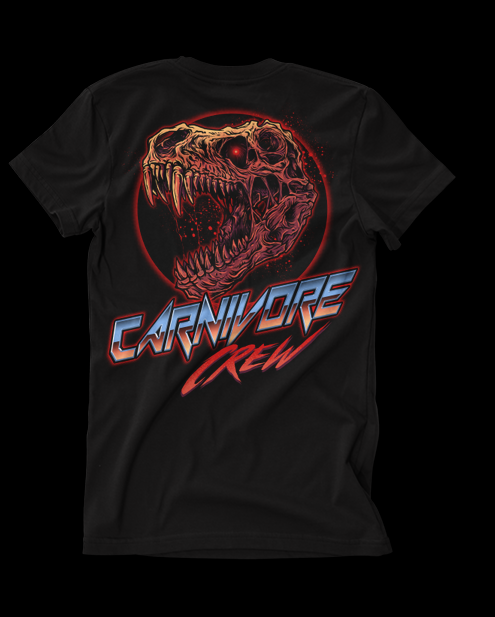 Vintage 80s metal style t-shirt illustration of a t-rex