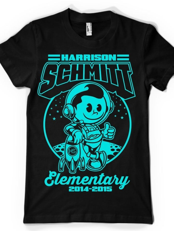 Cartoon t-shirt illustration for an elementary school