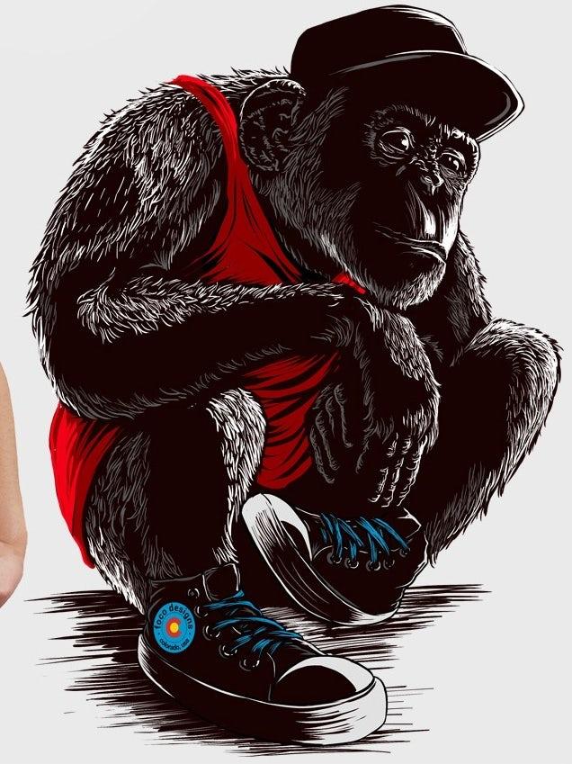 Sneaker chimp t-shirt illustration