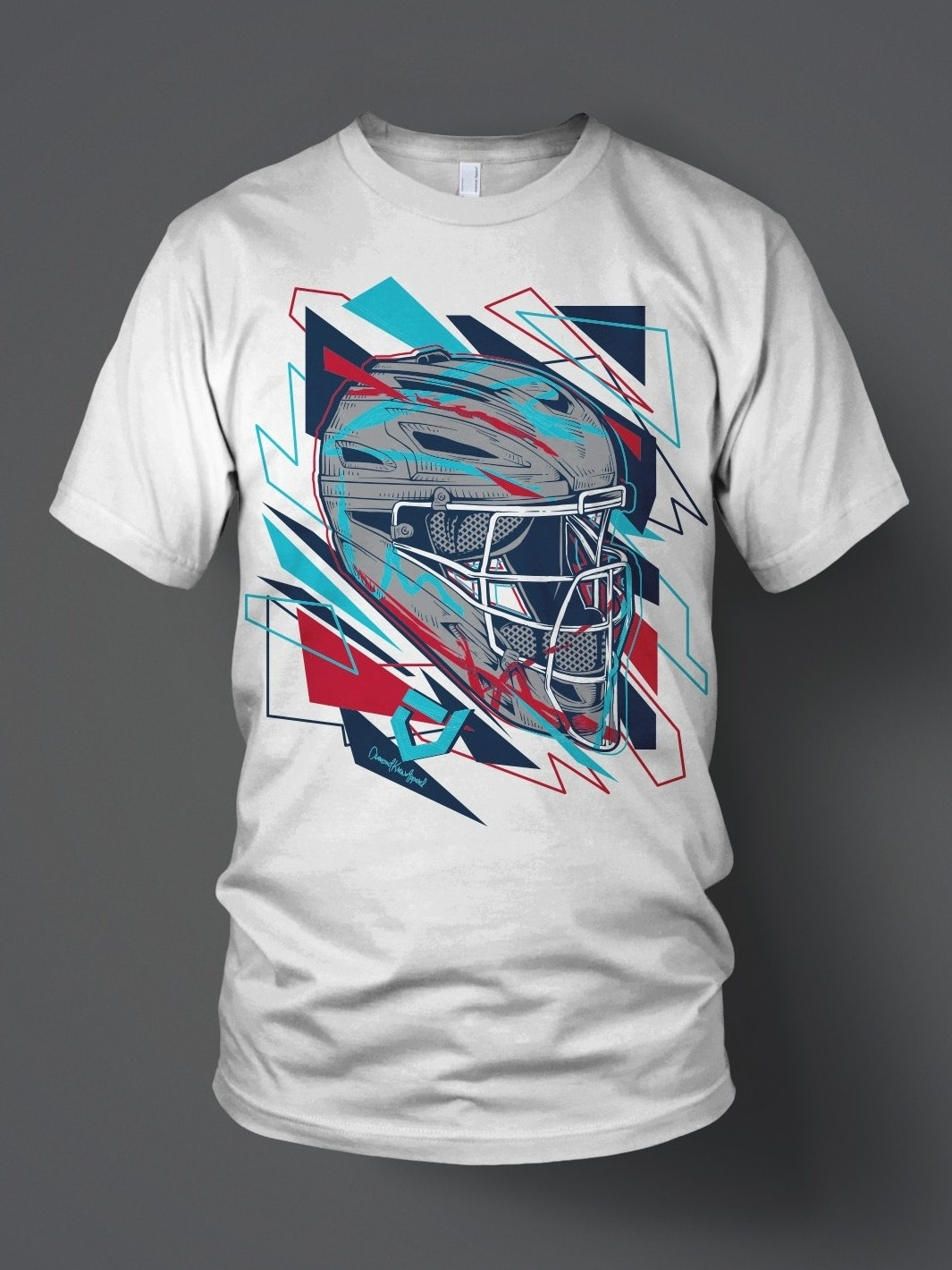 Geometric style umpire helmet illustration