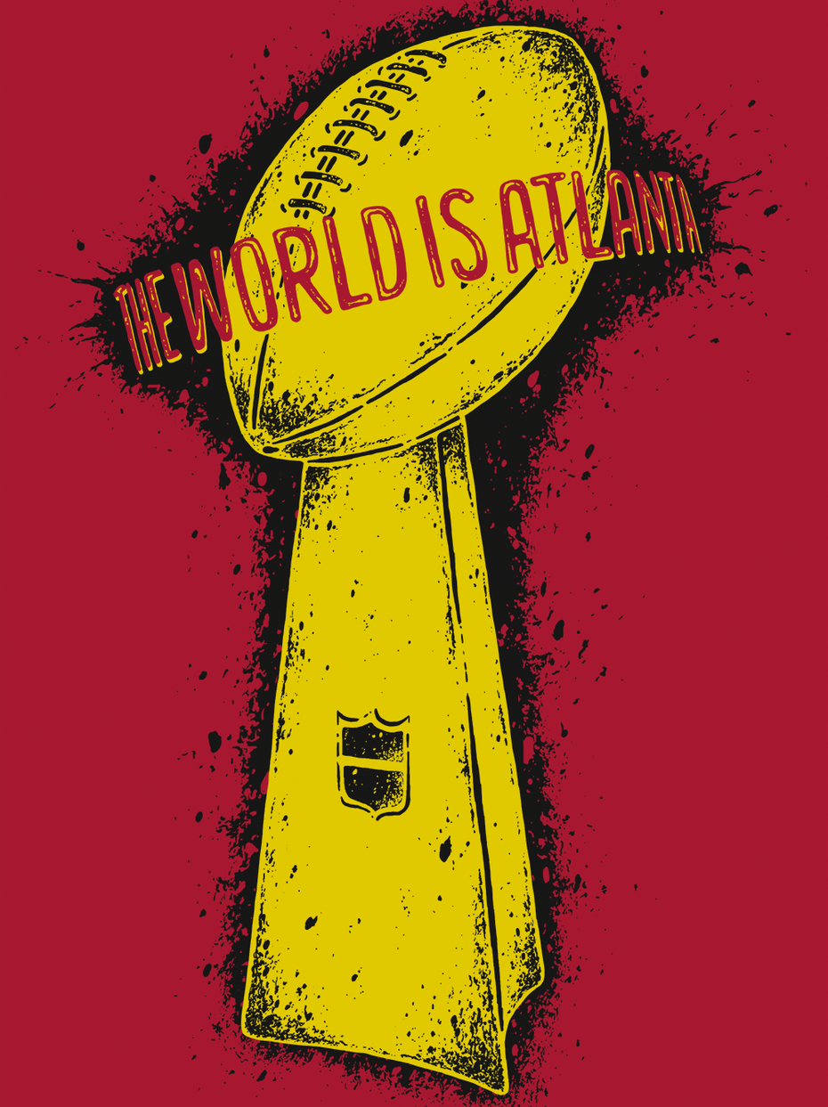 Super bowl themed t-shirt illustration