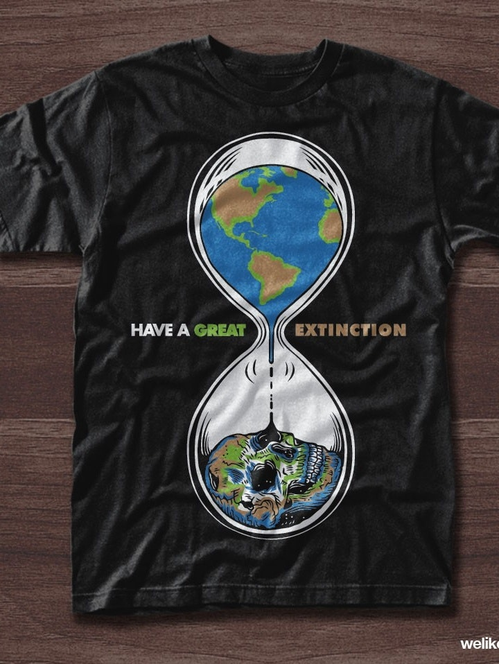 Environmental t-shirt illustration of the Earth inside of an hourglass