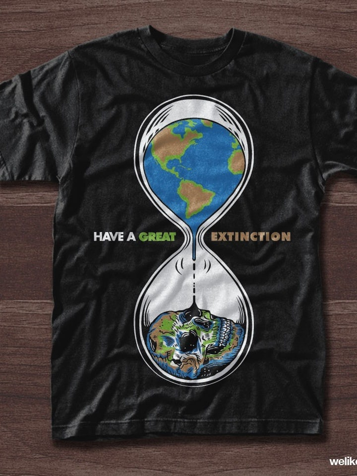 385a302c75deac Environmental t-shirt illustration of the Earth inside of an hourglass