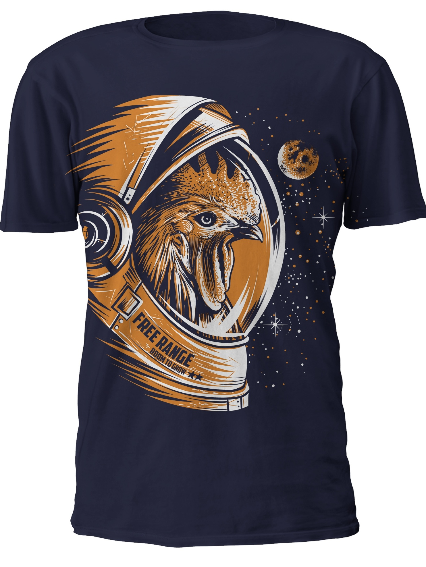 Illustrated chicken astronaut t shirt