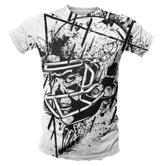 A black and white illustrated t-shirt of a football player