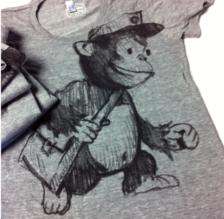 A t-shirt showing a sketch of Mailchimp's mascot