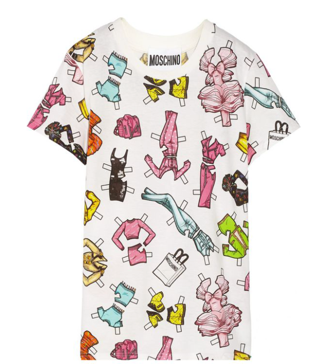 A graphic t-shirt with a pattern of barbie outfits