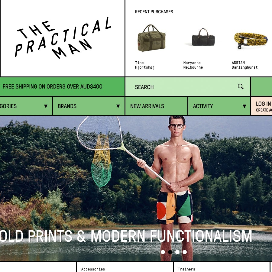 Animation h design s blog - The Practical Man Uses A 70s Inspired Green To Bring A Sense Of Fun Nostalgia To Their Site
