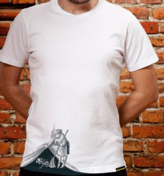 A graphic t-shirt illustration of sweeping under the rug