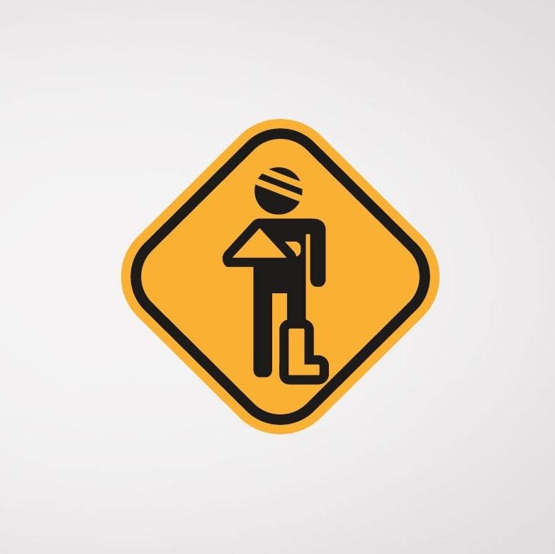 TRAFFIC SIGN, INJURED PERSON LOGO