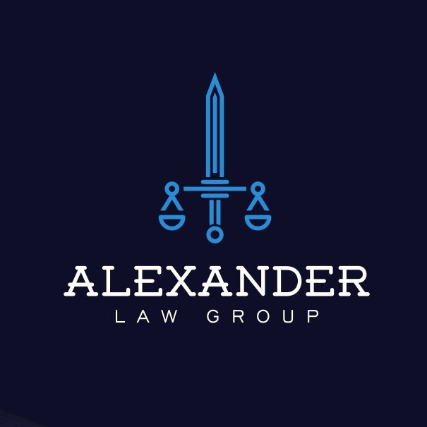 BLUE SCALES OF JUSTICE LAW LOGO, SWORD