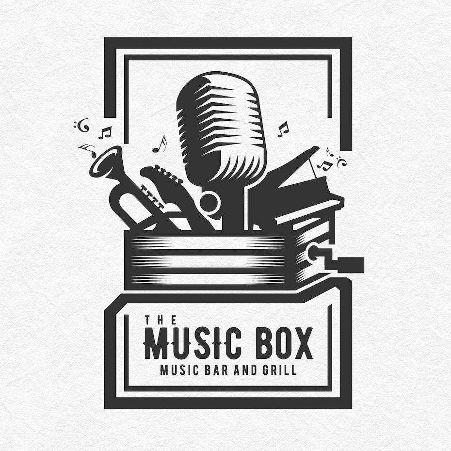 the music box music bar and grills logo is surrounded by a thick box of a border that sets off the design and reinforces the idea of the box