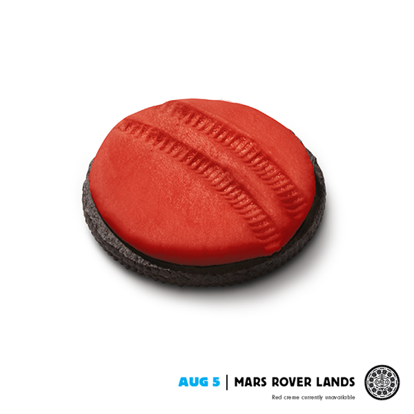 Oreo cookie with red center and rover tracks