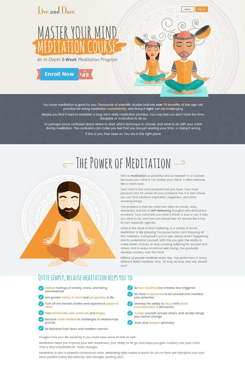 Meditation landing page