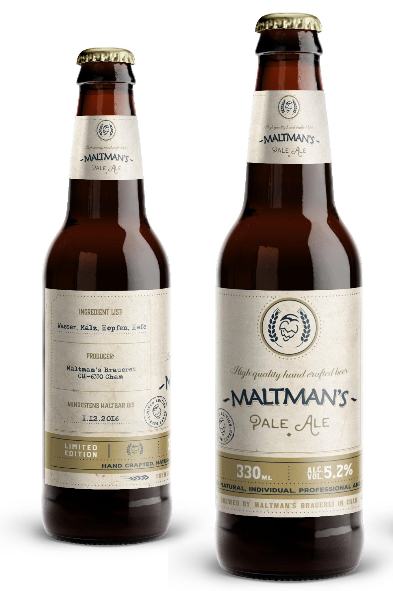 Maltman's Pale Ale Beer Label