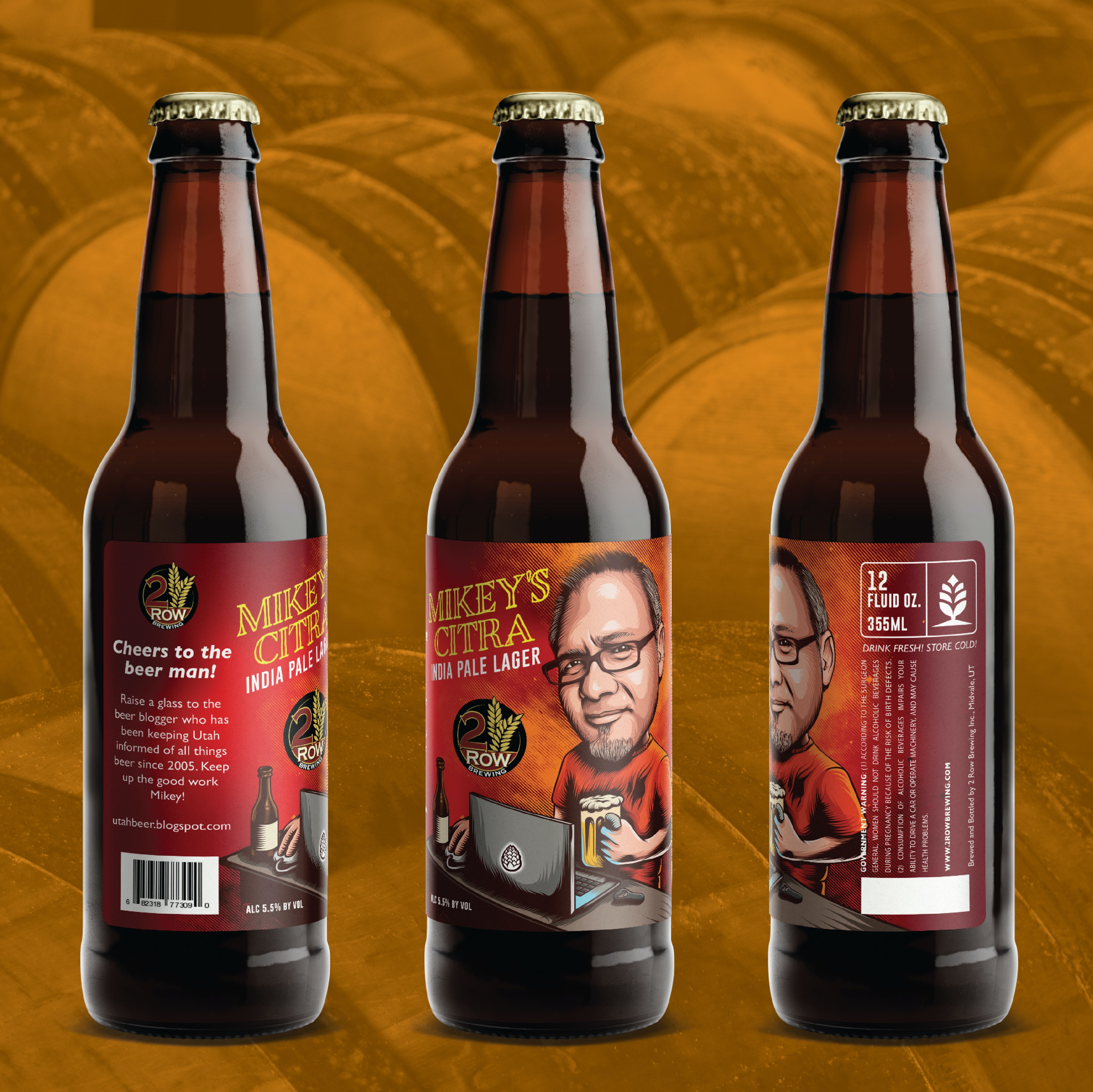 Quirky photo-based beer label design