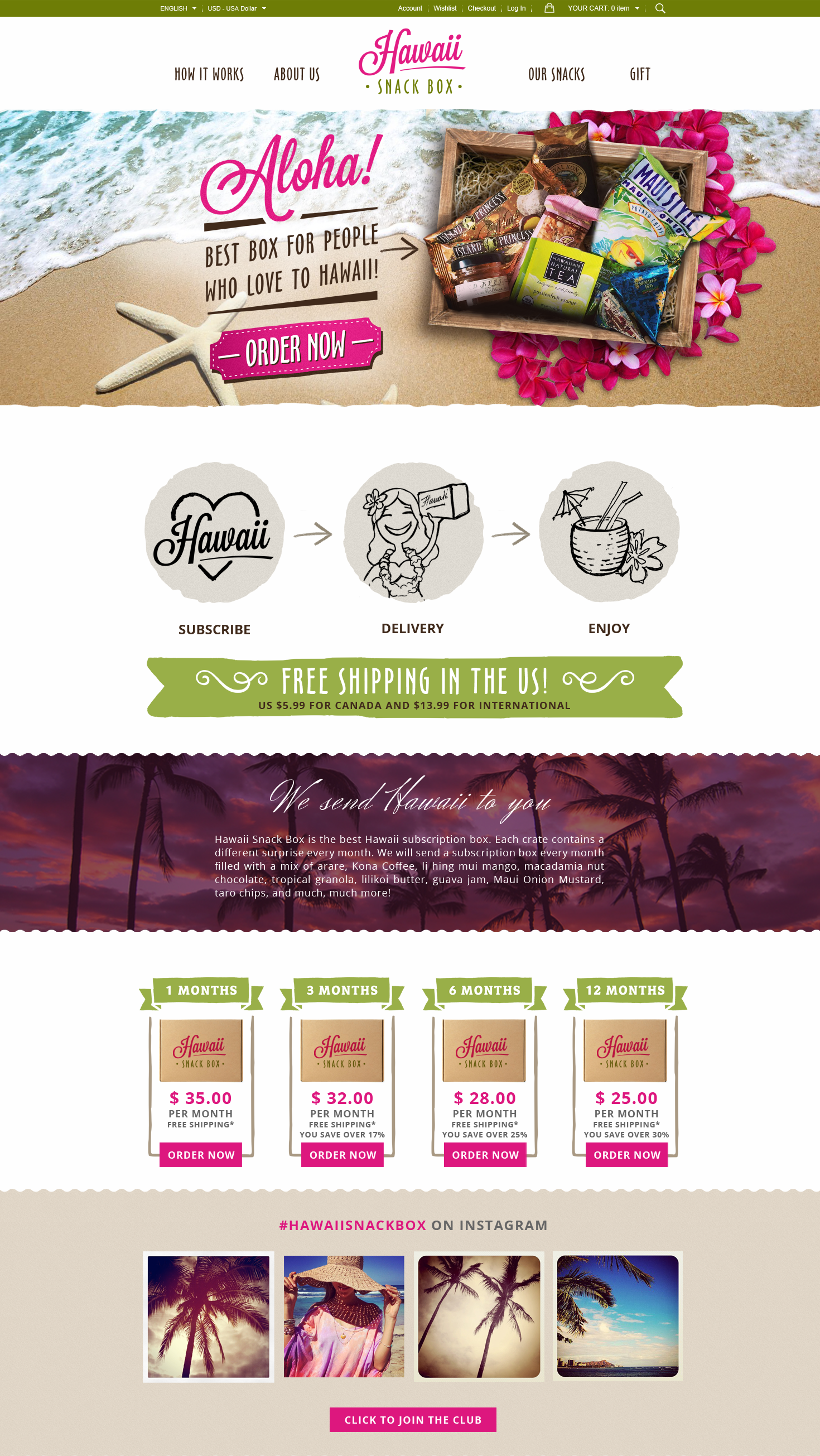 Hawaii Snack Box web design