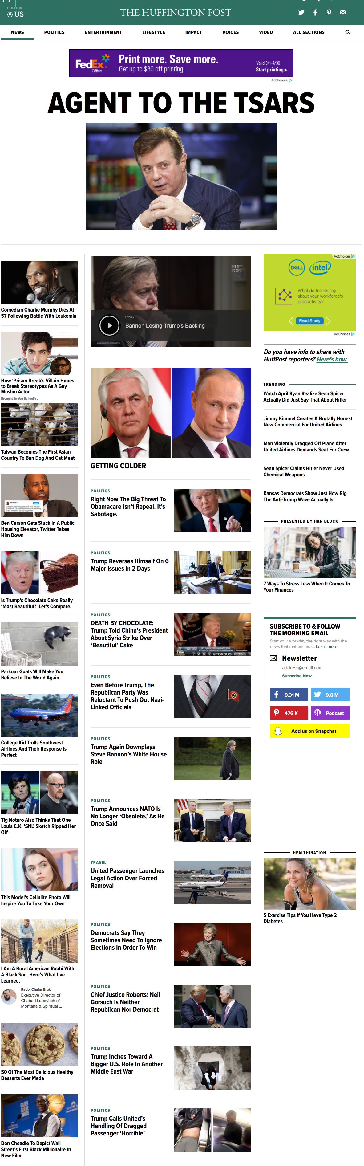Huffington Post homepage