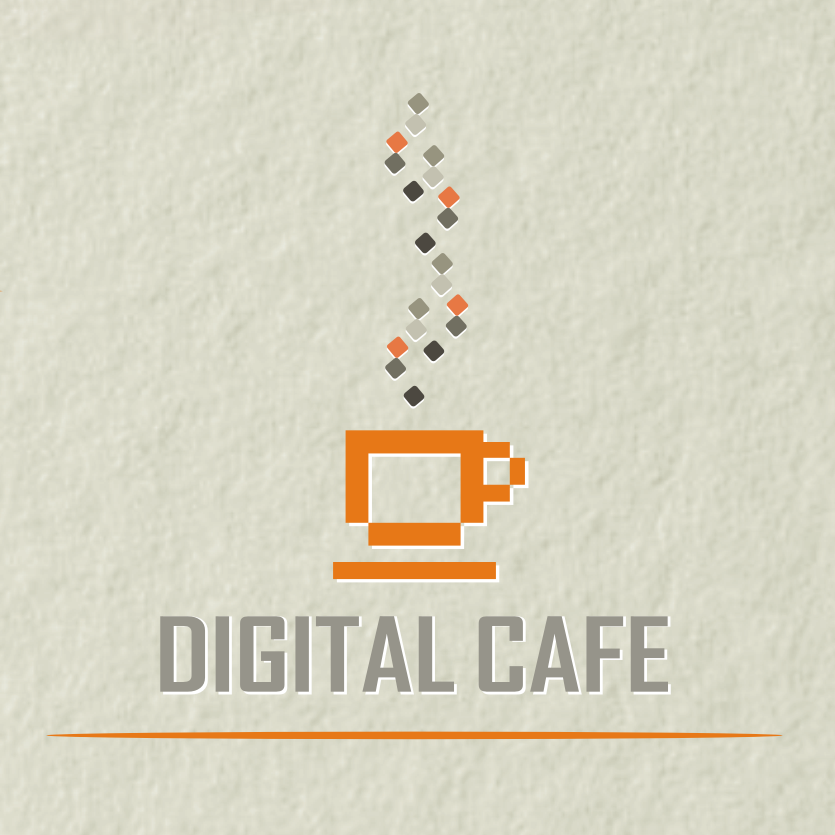 old school pixelated coffee logo design