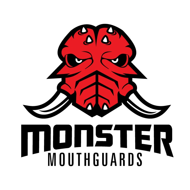 Logo with red and black monster