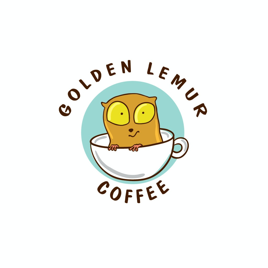 Golden lemur coffee logo design