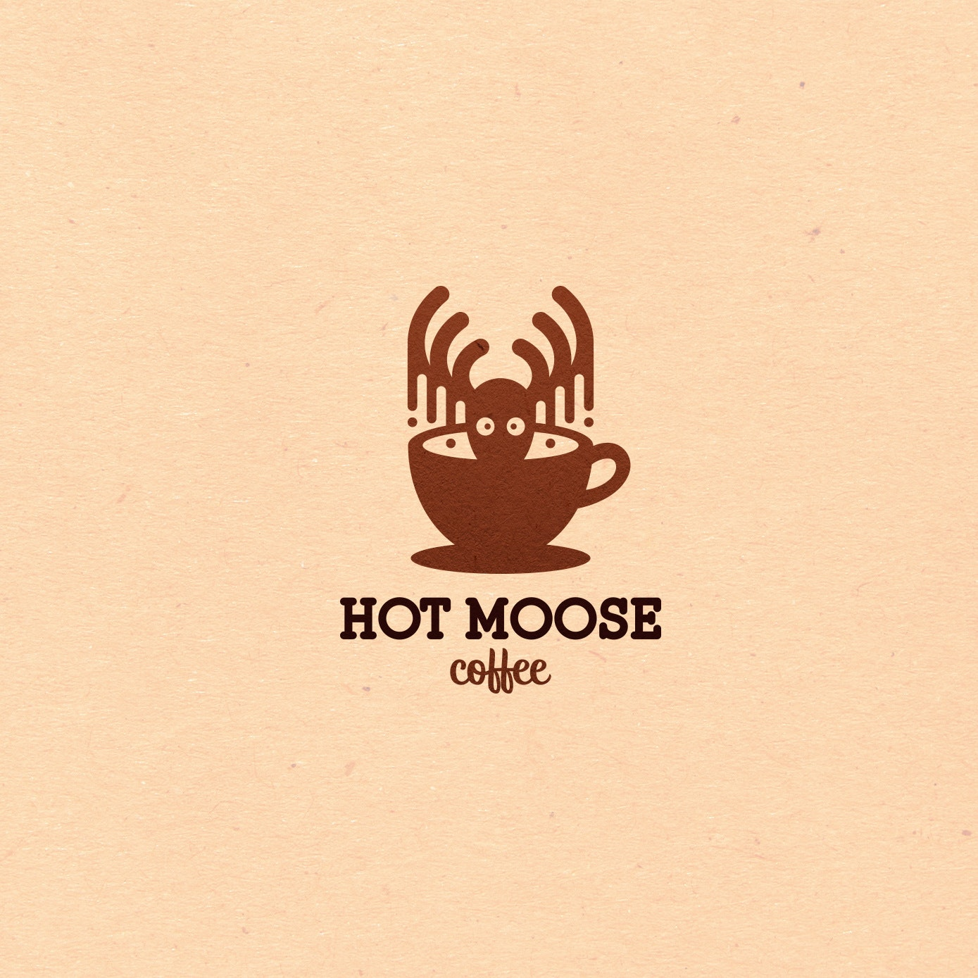 playful moose coffee logo design