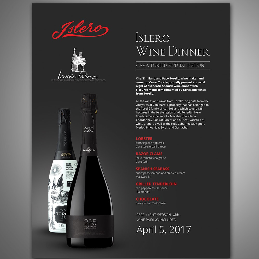 Black wine menu with red accents
