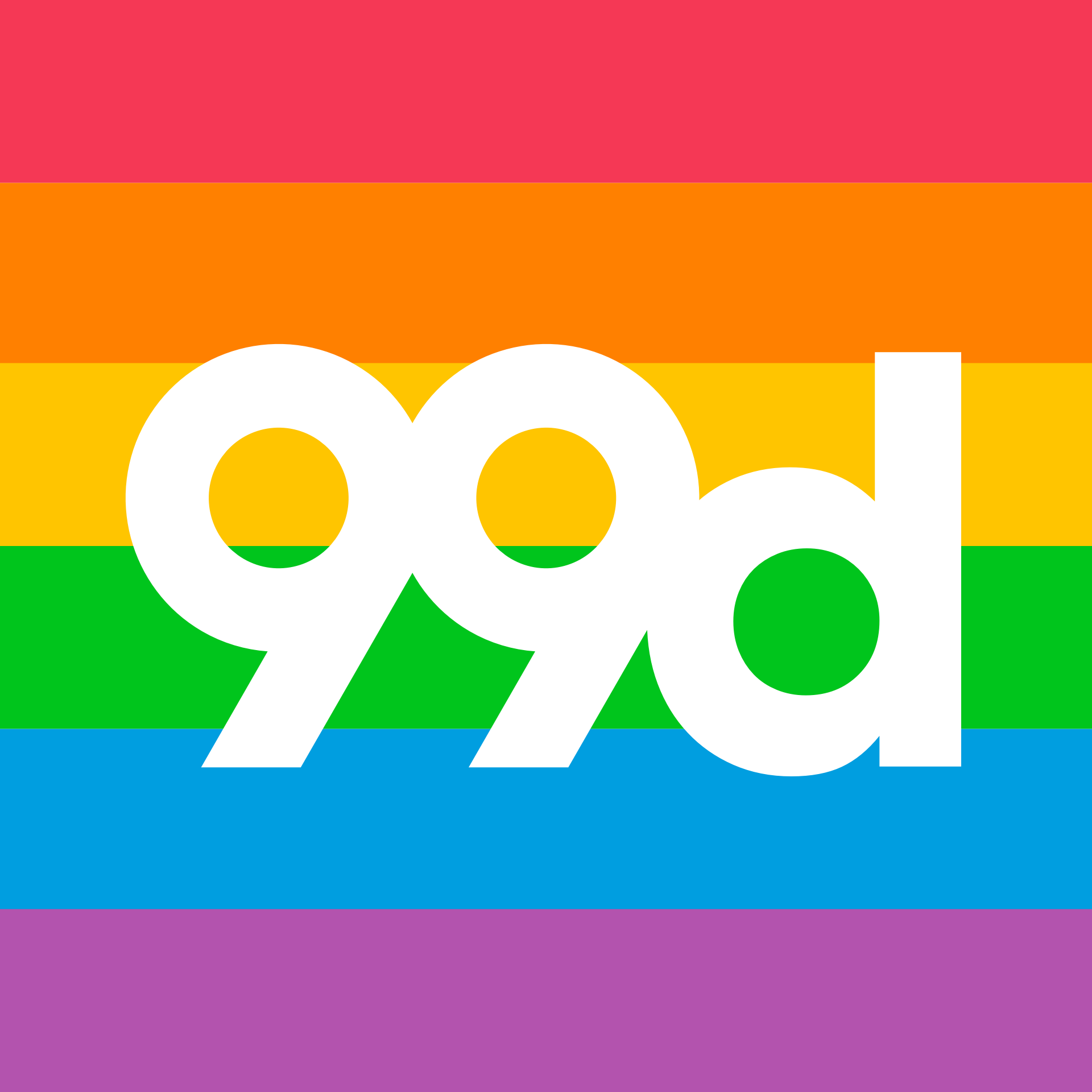 A rainbow themed version of 99designs' logo