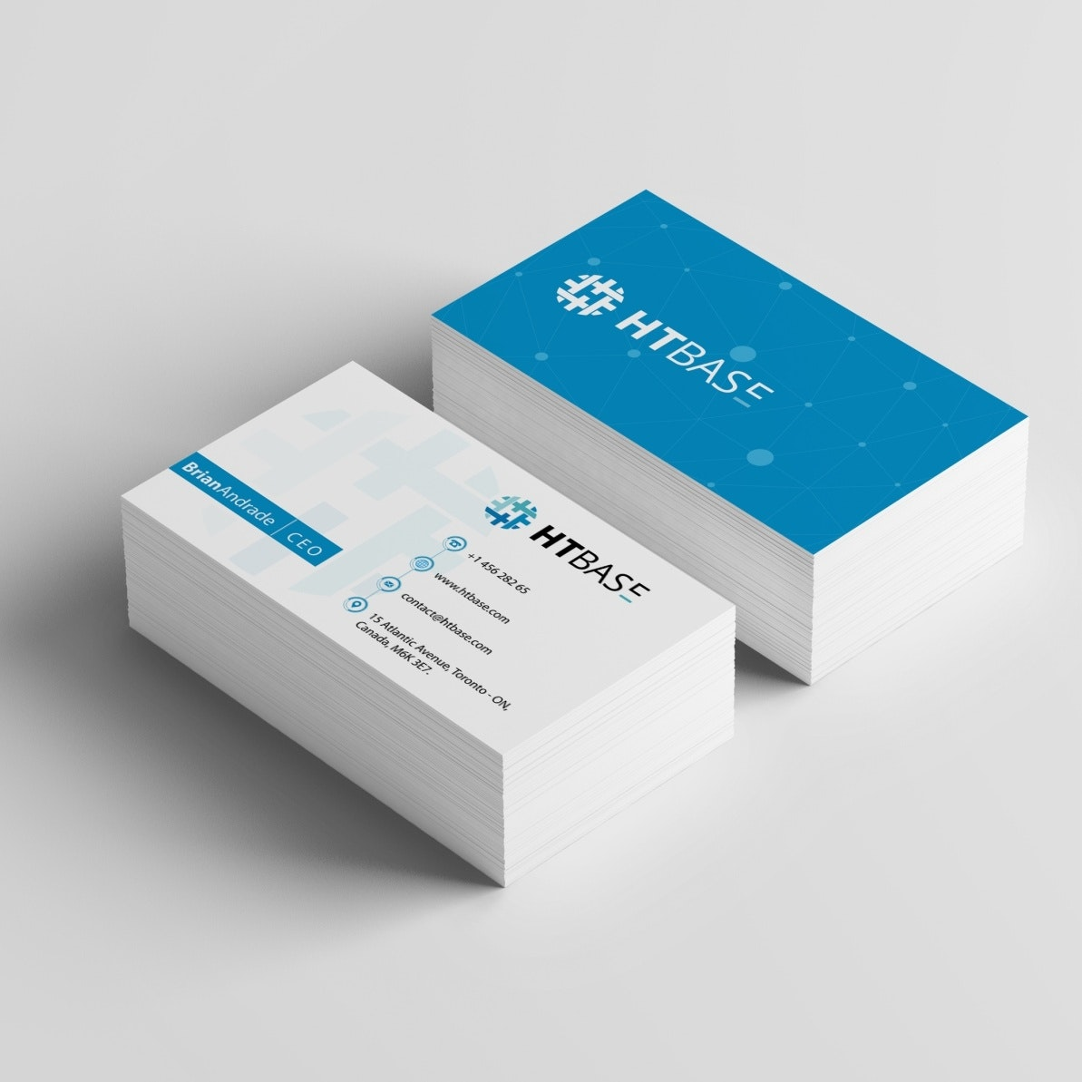 A blue and white business card