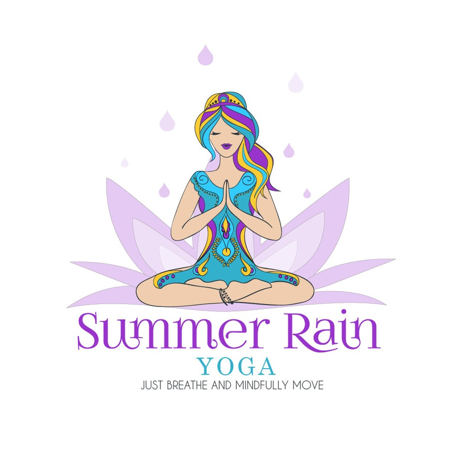 33 yoga logos that will help you find your center 99designs summer rain yoga logo izmirmasajfo