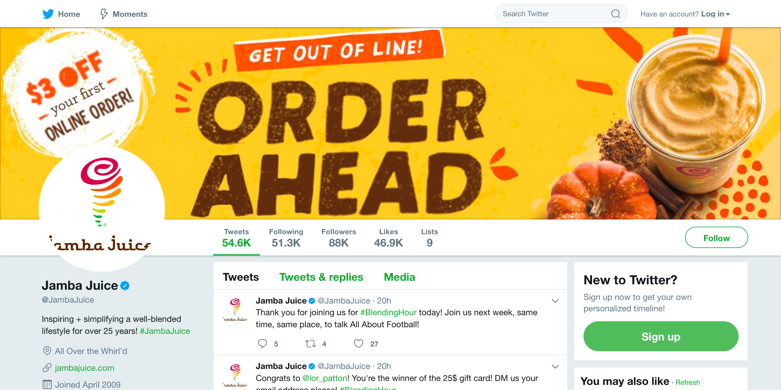 Jamba Juice Twitter profile
