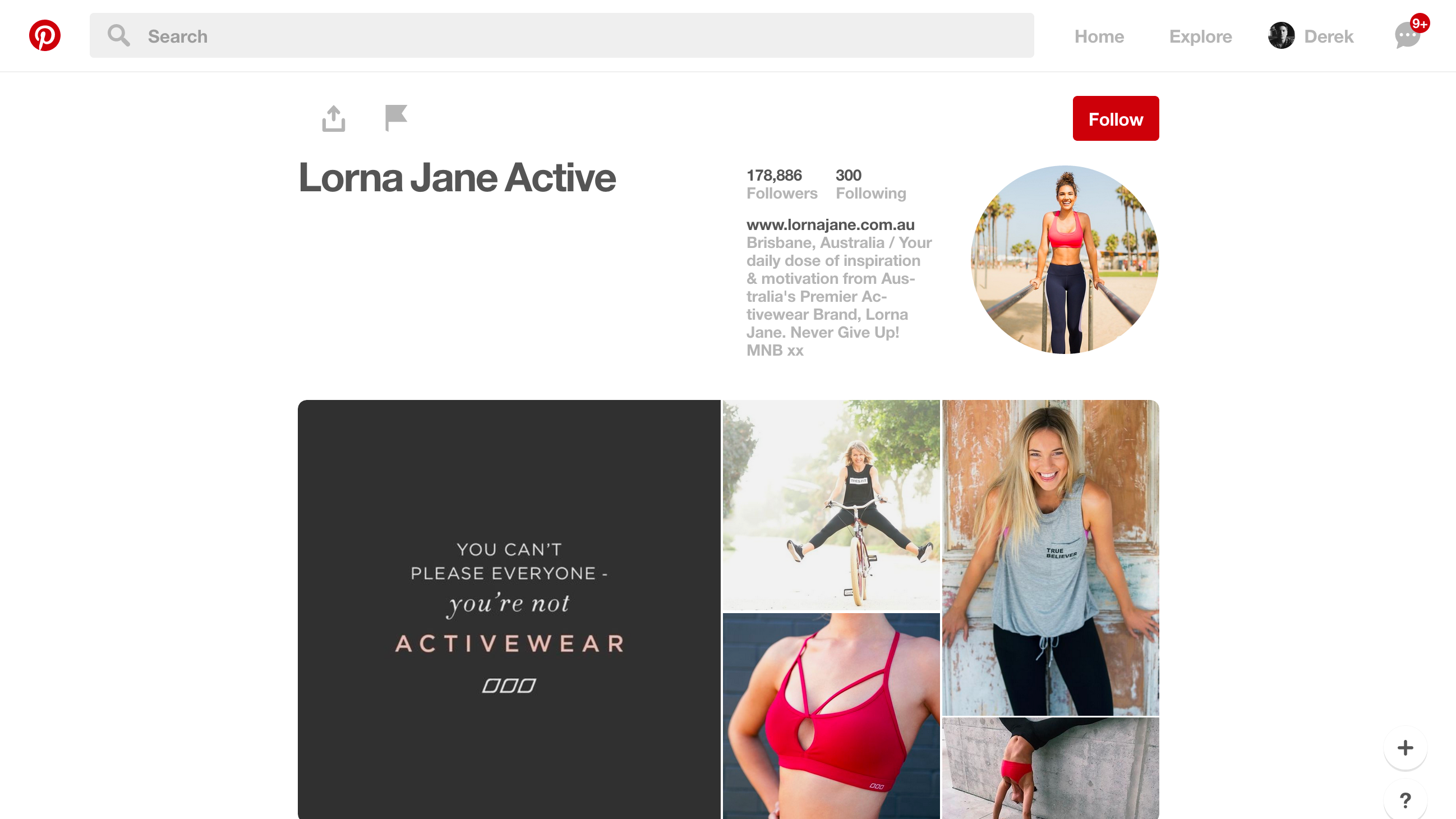 Lorna Jane Pinterest profile