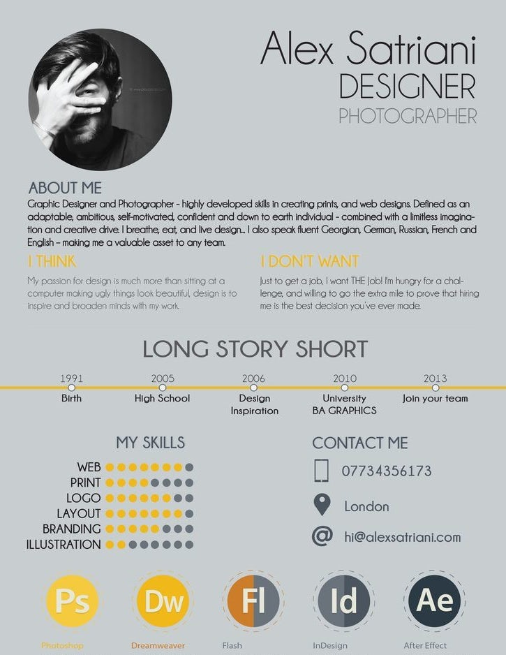 Graphic Design About Me Resume
