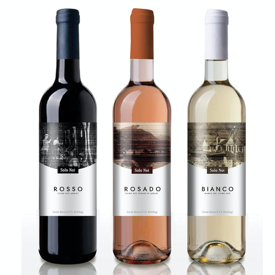 Wine labels with various tones and colors
