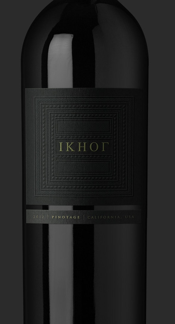 Minimalist black wine label