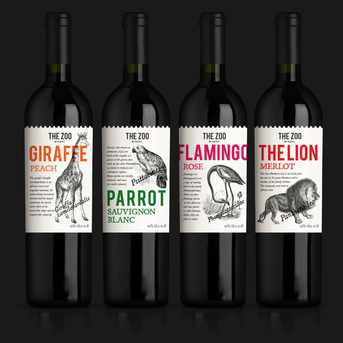 Selection of wine labels based on animals